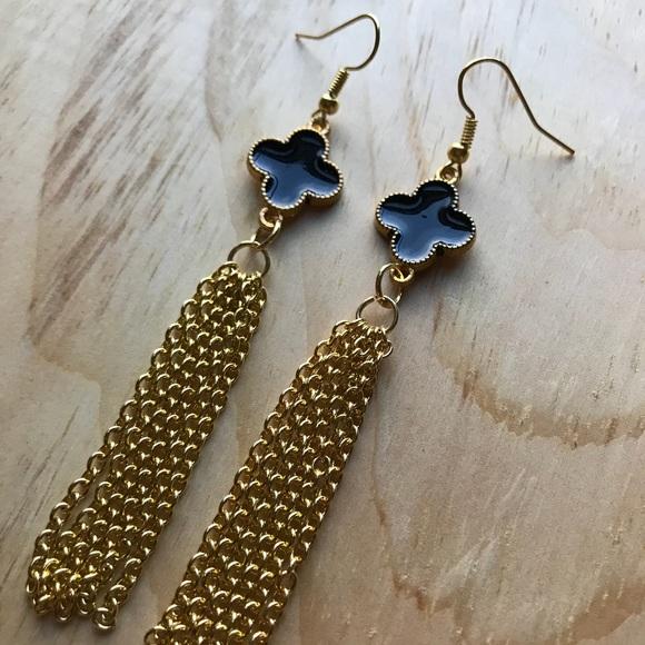 Handmade Jewelry Black And Gold Chain Tassel Earrings Poshmark